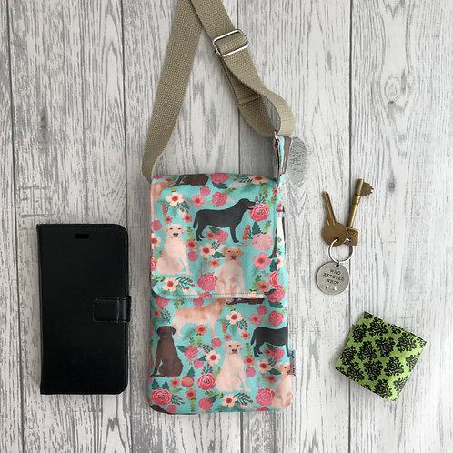 Floral Labrador Handy Shoulder Bag