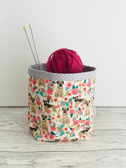 Border Terrier Floral Storage Basket