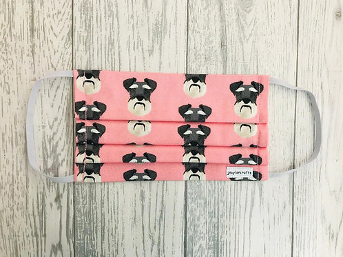 Pink Schnauzer Pleated Face Mask