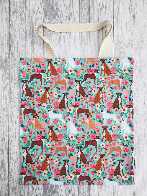Boxer Dog Floral Bag for Life