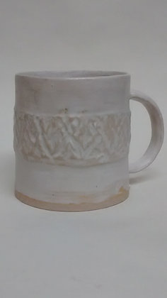 Matt white patterned cup