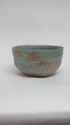 Matt blue patterned bowl