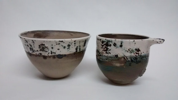Speckled bowl and cup set