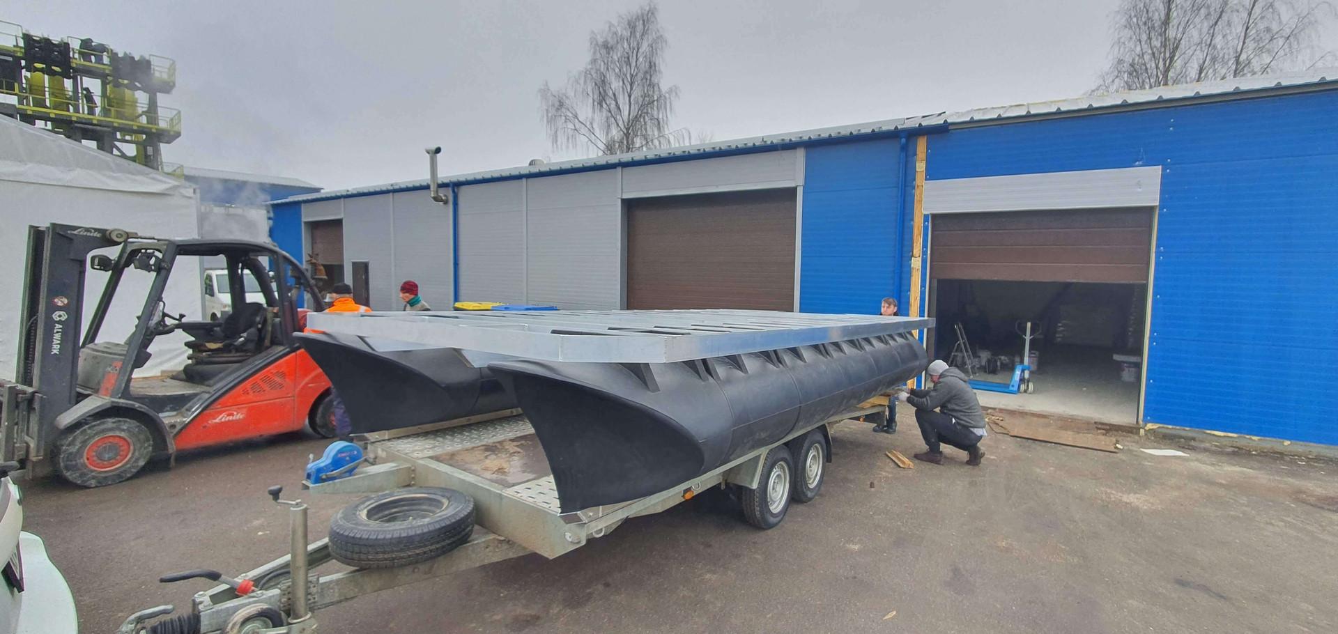 5,8m x 3m catamaran soon to be shipped