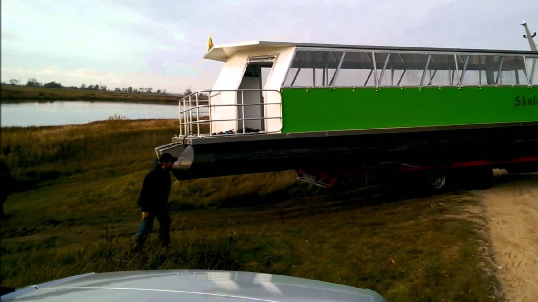 Pontoon ferry Skalva is taken out of water