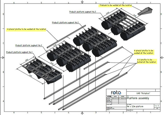 Exploded view of a special catamaran