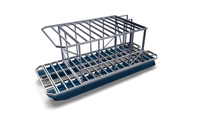 3d design of a platform with framed metal superstructure