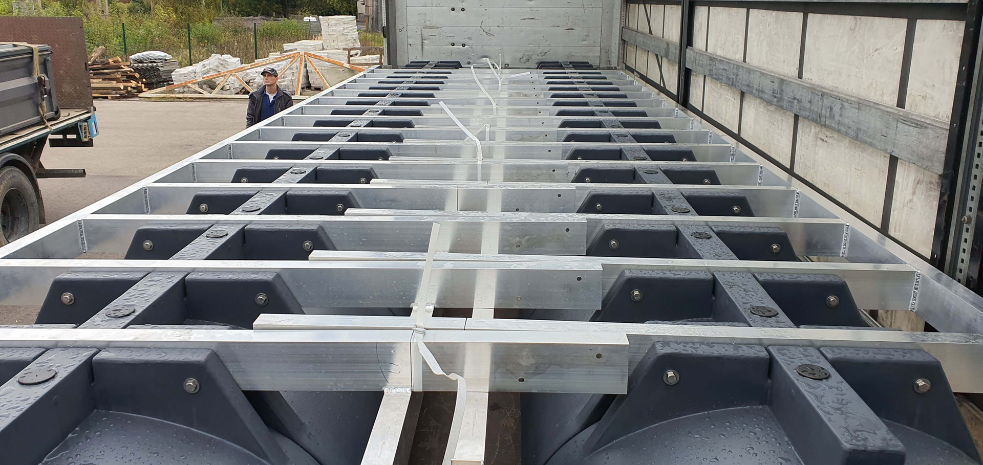 Vessel hull parts loaded for transportation
