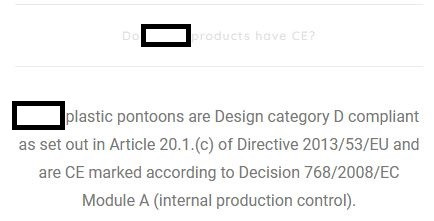 Picture showing a deceitful claim that pontoon has CE mark