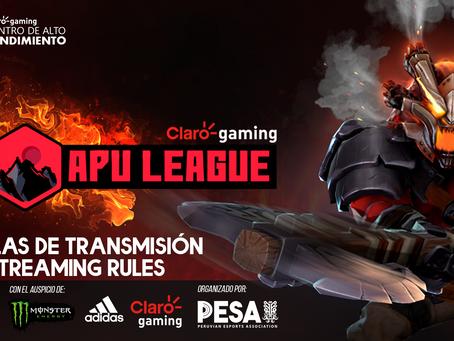 Claro gaming Apu League - Reglas de transmisión - Streaming Guidelines - UPDATED*9