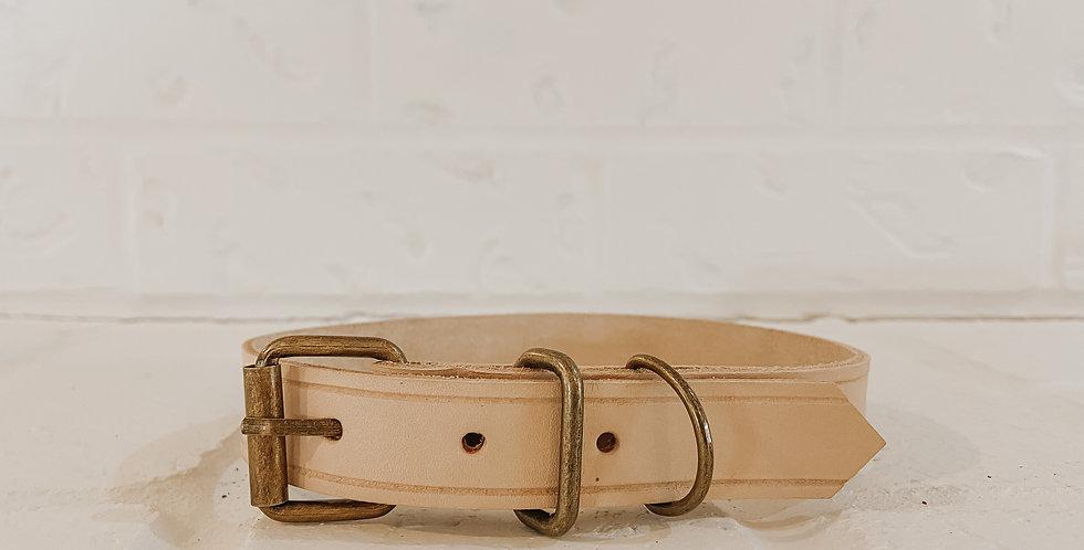 Handmade Leather Collar in Oat