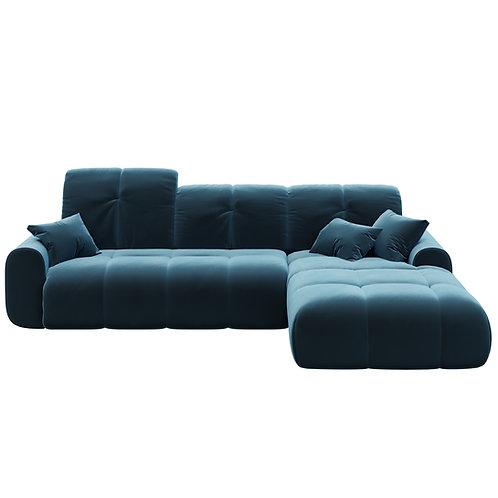 tous dark navy blue chaise longue sofa convertible right
