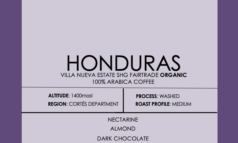 Honduras Villa Nueva Estate SHG Fairtrade Certified ORGANIC