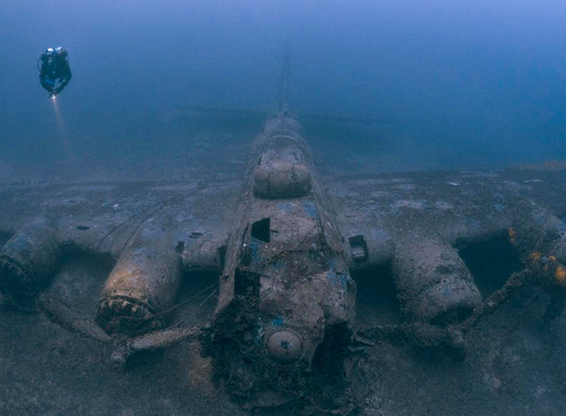 Eerie underwater scenes of lost ship and aircraft wrecks