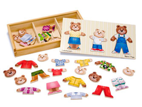 M&D Wooden Family Bear Dress-Up Puzzle