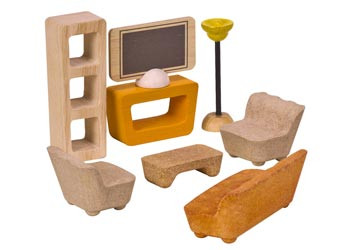 The Plan Toys U2013 Living Room Furniture Set Includes TV, TV Stand, Bookshelf,  Table, Sofa, Two Chairs And A Floor Lamp. This Beautiful Set Of Wooden  Dollhouse ... Part 92