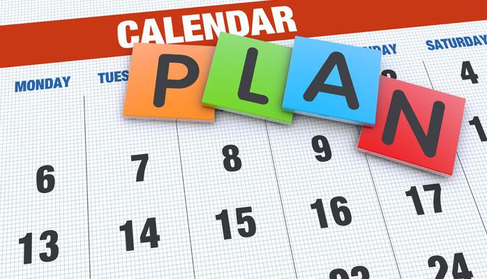 A weekly calendar