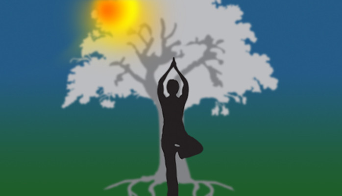 A figure standing in-front of a tree in a Yoga position