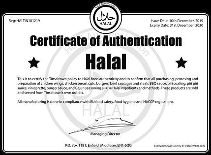Tinseltown Diner Halal Certificate