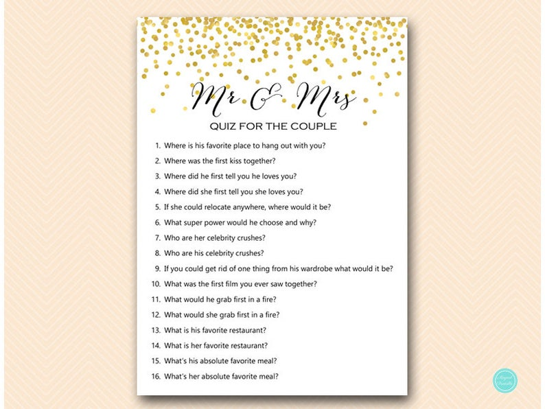 Mr & Mrs Quiz for the Couple