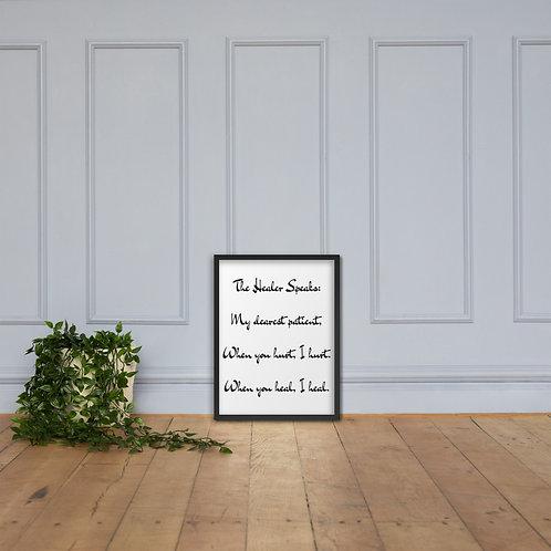 Framed poster: The Healer Speaks 2