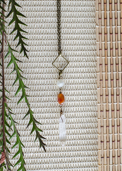 Antique Brass Crystal Gemstone Necklace