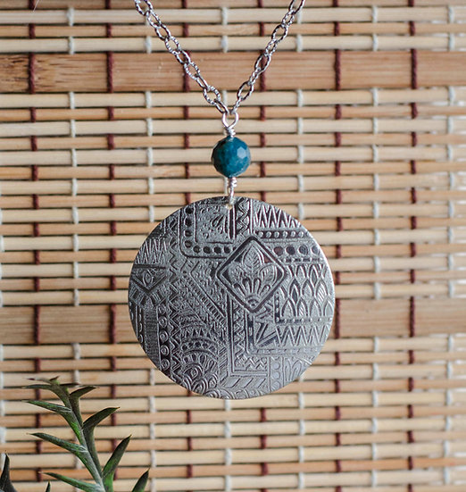 Double Etched Full Moon Necklace