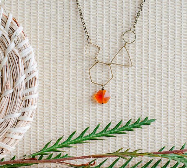 Antique Brass Geometric Necklace