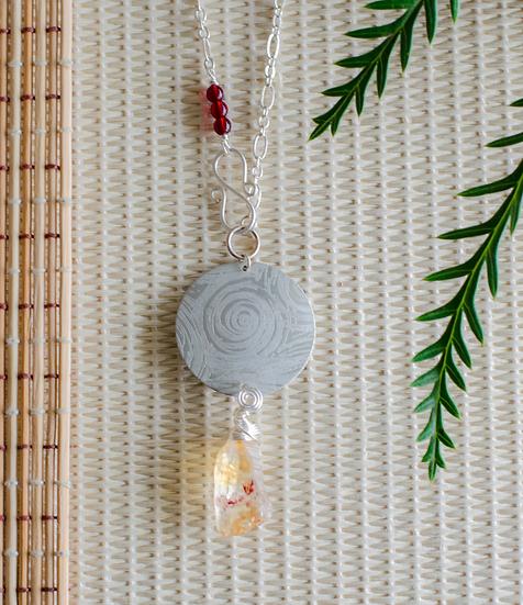 Citrine Moon Silver Necklace