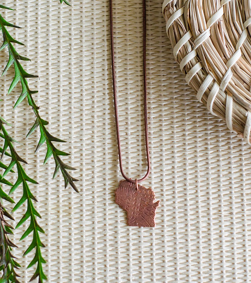 WI Etched Charm Gold Necklace