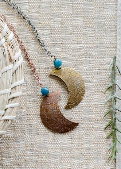 Double Etched Crescent Moon Necklace