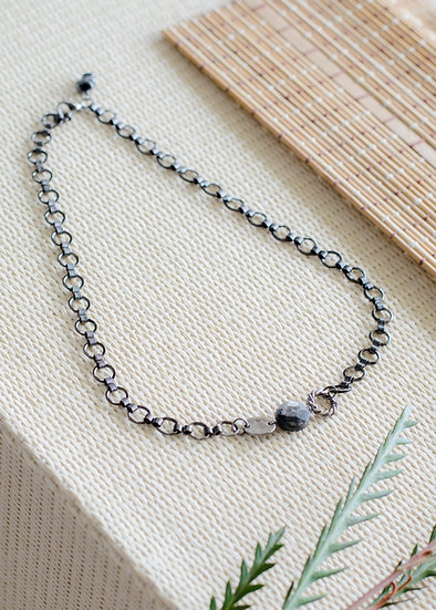 Gunmetal With Labradorite Necklace