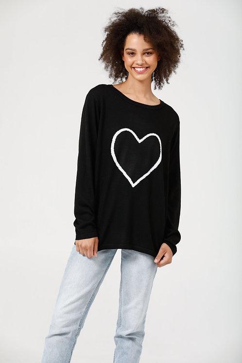Petra Heart Knit Black & Off White