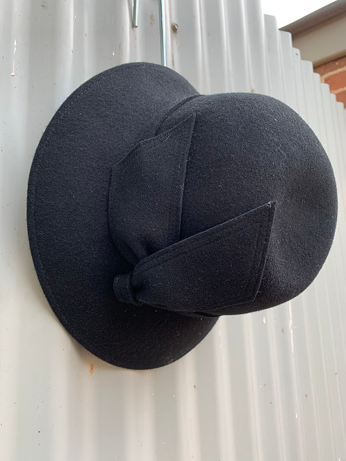Wool Felt Bell Cloche- Black