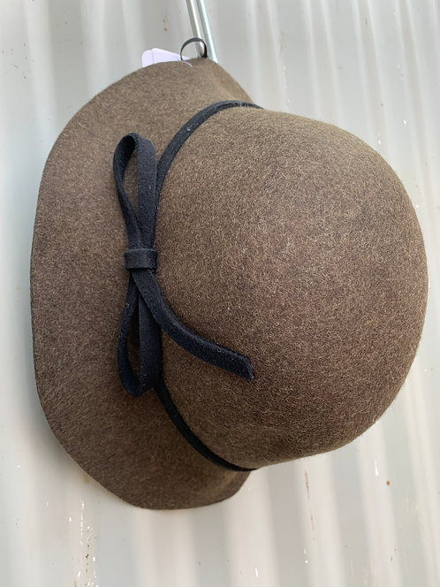 Raw Edge Felt Cloche- Olive