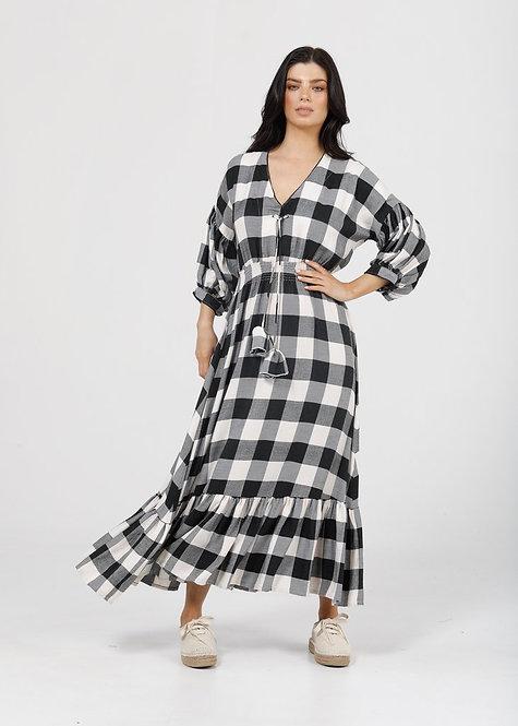 Bella Dress - Black / White Check Flannel