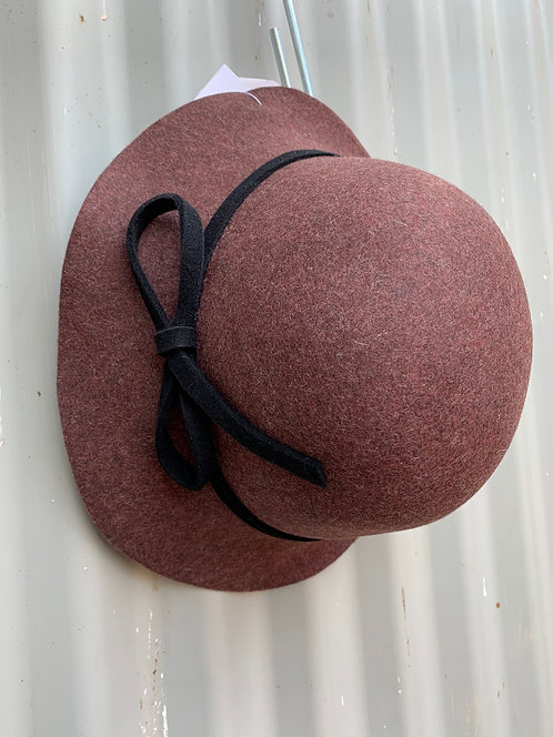 Raw Edge Wool Felt Cloche- Burgundy