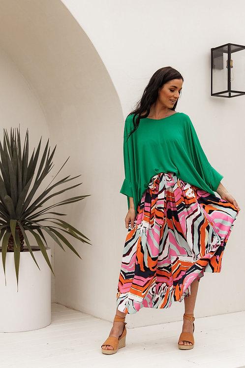 Twirl Tie Skirt-Tropical Zebra