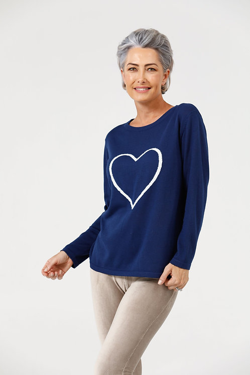 Petra Heart Knit- Midnight & Off White