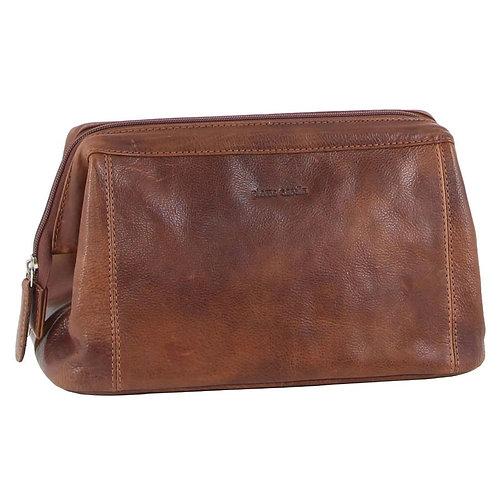 Pierre Cardin Men's Rustic Leather Toilet Bag-Chestnut