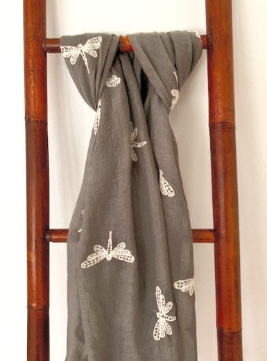 Grey Scarf with Embroidered Dragonflies