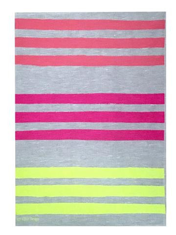 Triple Stripe linen tea towel in Flamingo, Neon crimson & Neon Yellow