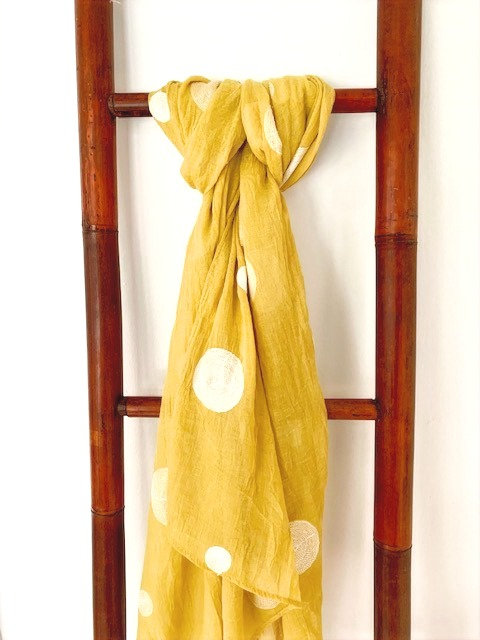 Mustard Embroidered Scarf