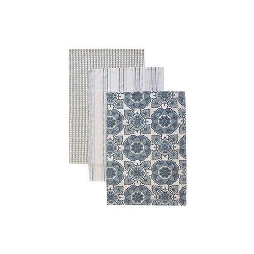 Tile Blue Tea Towel Pack - Set of 3