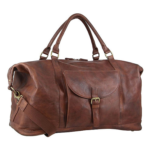 Pierre Cardin Rustic Leather Overnight Bag Chestnut