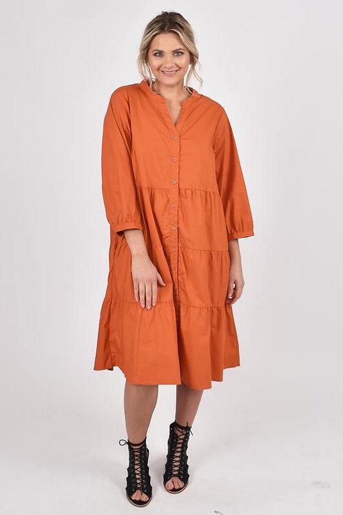 Tier Shirt Dress in Rust