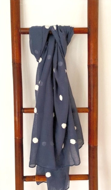 Blue Scarf with White Spot