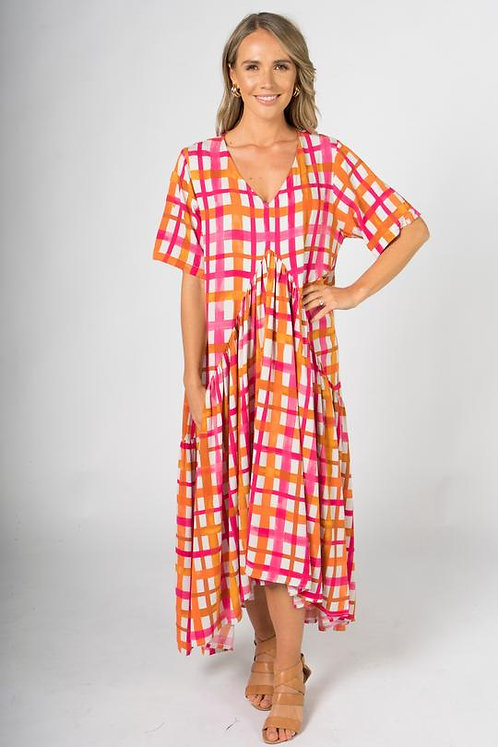 PQ Collection Peak Maxi Dress In Sunset Check
