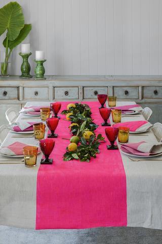 Neon pink Colourblock linen tablecloth