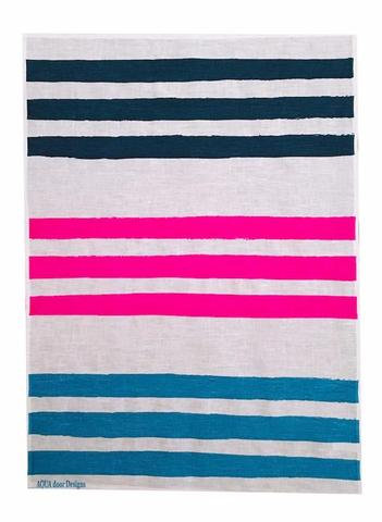 Triple Stripe linen tea towel in Ink, Neon Crimson and Sky